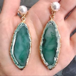"Boho Green Resin Stone Pearl 3"" Dangle Earrings"